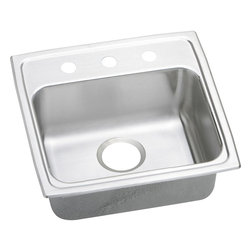 "Elkay - 19"" x 18"" x 4"" Single Bowl Kitchen Sink - Product height: 26.13. Product min width: 7.94. Product depth: 19.4418. Gauge stainless steel 19"" x 18"" x 4"" single bowl top mount kitchen sink. Elevate the culinary experience with the professional grade gourmet collection. Gourmet (lustertone) stainless steel single bowl top mount quick-clip sink. Quick-clip mounting system."
