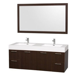"Wyndham Collection(R) - Amare 60"" Wall-Mounted Double Bathroom Vanity Set with Integrated Sinks by Wyndh - The Wyndham Collection is an entirely unique and innovative bath line. Sure to inspire imitators, the original Wyndham Collection sets new standards for design and construction. The Amare wall-mounted vanity family delivers beautiful wood grain exteriors offset by modern brushed chrome door pulls. Each vanity provides a full complement of storage areas behind sturdy soft-close doors and drawers. This versatile vanity family is available with distinctive vessel sinks or sleek integrated counter and sinks to fulfill your design dreams. A wall-mounted vanity leaves space in your bathroom for you to relax. The simple clean lines of the Amare wall-mounted vanity family are no-fuss and all style. Amare Bathroom Vanities are available in multiple sizes and finishes and are now available with optional Caesarstone® counters!FeaturesConstructed of beautiful veneers over the highest grade MDF, engineered for durability, and to prevent warping and last a lifetime 8-stage preparation, veneering and finishing processHighly water-resistant low V.O.C. sealed finishUnique and striking contemporary designModern Wall-Mount DesignMinimal assembly requiredDeep Doweled DrawersFully-extending soft-close drawer slides Concealed soft-close door hinges Backsplash not availableAcrylic-Resin integrated sink Rectangular Sink Single-hole faucet mountFaucet(s) not includedMirror includedMetal exterior hardware with brushed chrome finish Two (2) functional doors Four (4) functional drawers Plenty of storage space Plenty of counter spaceIncludes drain assemblies and P-traps for easy assembly How to handle your counter Spec Sheet for Vanity Installation Guide for Vanity Spec Sheet for Mirror Installation Guide for Mirror Spec Sheet for Amare Rotating Wall Cabinet with Mirror (WC-RYV202) Spec Sheet for Amare Bathroom Wall Cabinet (WC-RYV205)Installation Guide for Amare Bathroom Wall Cabinet (WC-RYV205) Spec Sheet for Amare Bathroom Wall Cabinet (WC-RYV207-WC)Installation Guide for Amare Bathroom Wall Cabinet (WC-RYV207-WC)"