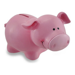 Zeckos - Smiling Perky Eared Pink Pig Coin Bank Piggy Bank - This happy little piggy bank is ready to be filled with coins and encourage a healthy saving habit Made from cold cast resin, the pretty glossy pink finish and smiling friendly face are sure to delight your little saver It measures 5 inches (13 cm) high, 8 inches (20 cm) long and 4.75 inches (12 cm) wide, and is perfect for any shelf, dresser or nightstand and easily empties via a plastic plug in the bottom for deposit into a savings account. With perky ears and a curly tail, it's a fun fresh-off-the-farm gift any little piggy fan is sure to enjoy