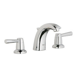 """Grohe - Grohe 20121001 Starlight Chrome Arden Arden Widespread Bathroom Faucet - Product Features:  Faucet body constructed of solid brass Covered under Grohe s limited lifetime warranty Grohe faucets are exclusively engineered in Germany Finishes will resist corrosion and tarnishing through everyday use - finish covered under lifetime warranty Pressure resistant flexible connection hoses Double handle operation - handles rest on 1/4 turn valves Handles Not Included SilkMove ceramic disc cartridge for near friction free movement for a lifetime Low lead compliant - meeting federal and stat regulations for lead content WaterSense Certified product - using at least 30% less water than standard 2.2 GPM faucets, while still meeting strict performance guidelines Designed for use with standard U.S. plumbing connections  Product Specifications:  Overall Height: 4-5/8"""" (measured from counter top to the highest part of the faucet) Spout Height: 3-7/16"""" (measured from the counter top to the spout outlet) Spout Reach: 4-3/8"""" (measured from the center of the faucet base to the center of the spout outlet) Installation Type: Widespread Number of Holes Required for Installation: 3 Faucet Centers (Distance Between Handle Installation Holes: 5-1/2""""-27-1/2"""" (Adjustable) Flow Rate: 1.5 GPM (gallons-per-minute) Maximum Deck Thickness: 1-3/16""""  Product Technologies / Benefits:  Starlight Finish: Continuously improving over the last 70 years Grohe's unique plating process has been refined to produce and immaculate shiny surface that is recognized as one of the best surface finishes the world over. Grohe plates sub layers of copper and/or nickel to ensure that a completely non-porous, immaculate surface awaits the chrome layer. This deep, even layer"""