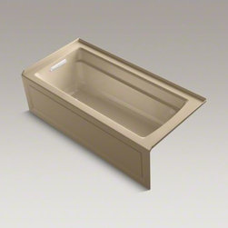 "KOHLER - KOHLER Archer(R) 66"" x 32"" three-side integral flange bath with left-hand drain - Taking its design cues from traditional Craftsman furniture, the Archer line of baths reveals beveled edges and curved bases for a clean, sophisticated style. This bath offers a low step-over height while allowing deep, comfortable soaking. A lumbar arch gently support the natural curves of your body. KOHLER ExoCrylic(TM) is the next generation of bathroom acrylics, featuring a lighter weight for easier installation and 90% fewer VOCs produced during manufacturing."