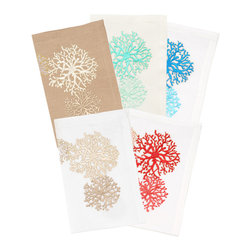 Kim Seybert White/Beige Round Coral Napkins - Set of Four - Stunning round graphics of coral branches in arrays like naturalistic fireworks are embroidered in three different styles on these square white cloth napkins. The corals, not quite symmetrical and appealingly just off perfect alignment, flower across the surface of the napkin, their vividly stitched colors capturing some of the layered beauty of a natural reef. The Round Coral Napkins are a bright and intricate addition to your collection of luxury table linens.