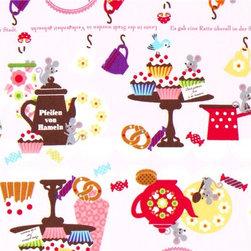 pink cupcake tea service mouse fabric by Kokka Japan - cute Cupcake Mouse Fabric