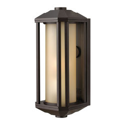 Hinkley Lighting - Hinkley Lighting HK-1390BZ-GU24 Castelle Outdoor - Castelle's transitional style features clean lines and a ribbed etched glass cylinder accented by etched amber corner panels, adding to its sophisticated look.