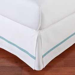 Morgan Banded 400-Thread-Count Bed-Skirt, King, Aqua - Our Morgan bed skirt finishes the bed with exceptional softness and tailored style. It features a single solid stripe that edges the crisp white ground. Made of pure cotton. 400-thread count. Machine wash. Imported.