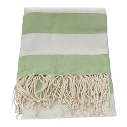 Turkish Peshtemal Bath and Beach Towel , Celery Green - The Turkish peshtemal towel is made of 100% soft, natural turkish cotton in a large & generous size. A popular towel for summer because they're absorbent and dry quickly. These towels are lightweight and roll up easily to take to the gym or spa. Worn as a beach sarong or sarong dress in top resorts worldwide, sarongs are a fashionable and acceptable form of dress in a beach community, along the boardwalk, in restaurants and shops.  At the beach or pool they can also double as a beach towel or lounge chair cover.  Used as a bath towel, they add a light, airy decorative touch to the bath; A very summery, stylish look.