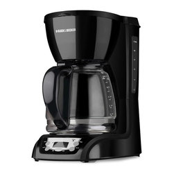 """Applica - Black and Decker Programmable Coffeemaker - Includes glass carafe and removable filter basket. Twelve cups capacity. Generous stay-cool handle. Measuring marks at side. Dripless pour spout for graceful serving. Soft-touch digital control panel. Power indicator light. Programmable clock. Auto-brew and pause function. Nonstick warming plate. Two hours auto shut-off for safety. Water-level indicator. Voltage: 975 watts. Warranty: Two years limited. Black color. 11.6 in. L x 9 in. W x 13.88 in. HBrew up to 12 cups of great-tasting coffee at a time with this programmable coffeemaker. """"wake-up"""" coffee or for having a freshly brewed pot ready and waiting when it's time to serve dessert-no need to get up from the table half way through dinner. The appliance also offers a Sneak-A-Cup interrupt feature for pouring a quick cup midbrew, while its nonstick keep-warm plate ensures the last cup tastes as hot and fresh as the first."""