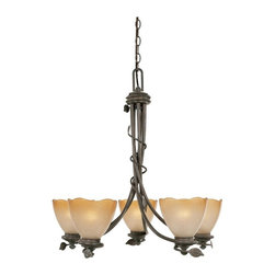 Designers Fountain - Designers Fountain 95685 Timberline 5 Light Chandelier in Old Bronze Finish - 95 - Shop for Chandeliers from Hayneedle.com! If you want to dress up your foyer or dining space with rustic charm tempered with a generous dose of contemporary elegance the Designers Fountain 95685 Timberline 5 Light Chandelier in Old Bronze Finish will be the perfect choice for you. An endearing blend of style and substance this handsome chandelier is sure to attract plenty of attention with its hand-forged leaf accents and twisted-vine motifs. The beautiful old bronze finish plays up the beauty of the sculpted ochere luster glass shades while five 100-watt medium base bulbs (not included) diffuse light into a warm ambient glow that's perfect for dining or entertaining.About Designers FountainHeadquartered in sunny Los Angeles Designers Fountain lets you show off your creative side. Indulge yourself and your home with a range of lighting styles from contemporary to classic each crafted with care from high-quality materials. Designers Fountain supplies lighting fixtures to over 1 200 authorized North American dealers and sources designs from across the world. Get quality lighting that enhances your home while impressing you with its affordable price... only from Designers Fountain.