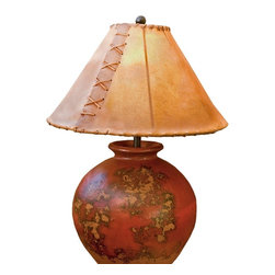 Mathews & Company - Flower Pot Table Lamp - Our Contemporary style Flower Pot Table Lamp is a beautiful piece of hand-crafted home furniture. Lamp is UL Approved and pre-wired, all you have to do is add a light bulb and plug it in to start enjoying its warmght. Pictured in Rawhide shade and Black finish.