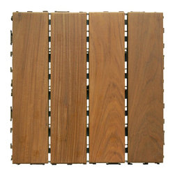 "HandyDeck - Ipe Wood Deck Tiles - SwiftDeck Colorado 12"" x 12"" - - 12"" x 12"" tiles simply clip together over any hard surface"