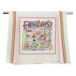 CATSTUDIO - England Dish Towel by Catstudio - This original design celebrates the Country of England.  This design is silk screened, then framed with ahand embroidered border on a 100% cotton dish towel/ hand towel/ guest towel/ bar towel. Three stripes down both sides and hand dyed rick-rack at the top and bottom add a charming vintage touch. Delightfully presented in a reusable organdy pouch. Machine wash and dry.