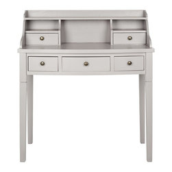 """Safavieh - Landon Writing Desk - Grey - Remember the old-fashioned dark mahogany roll top desk with all its storage cubbies"""" Safavieh fast-forwards the concept into the 21st century with the elm Landon Writing Desk in grey painted finish. Perfect in home office, bedroom or even in the kitchen as a kids��_ homework station, its drawers and cubbies organize your office essentials. Assembly required."""