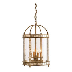 Currey and Company - Corsica Lantern - Vintage styling with a pleasing combination of materials make this small four-light lantern unique. Inlaid antiqued mirror enhances an antiqued silver leaf framework. Seeded bent glass is the finishing touch that pulls it all together.