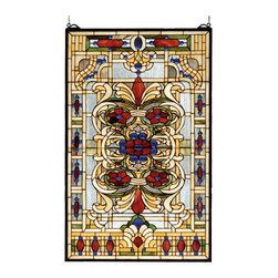 Meyda - 22 Inch W x 35 Inch H Estate Floral Windows - Color theme: Zasdy burgundy blue green/blue HA beige