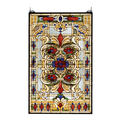 Meyda - 22 Inch W X 35 Inch H Estate Floral Window Windows - Color Theme: Zasdy Burgundy Blue Green/Blue Ha Beige