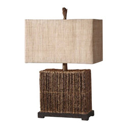 "Uttermost - Uttermost Barbuda Table Lamp 9 x 18 x 27.25"", Bronze - Natural palm branches strung together with woven rattan accented with a rustic bronze foot. The rectangle box shade is burlap textile with natural slubbing.Designer: Billy MoonWattage: 100WDimensions: 9"" depth by 18"" width by 27.25"" heightMaterial: palm branch/metal"