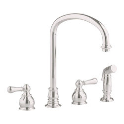 American Standard - Hampton Two Handle Kitchen Faucet with Gooseneck Spout and Side Sprayer - American Standard 4751.732.295 Hampton Two Handle Kitchen Faucet with Gooseneck Spout and Side Sprayer in Satin Nickel.