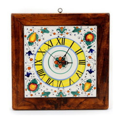 Artistica - Hand Made in Italy - Fruttina: Square Wall Clock on Reclaimed Wood Frame. - Framed in genuine reclaimed and treated wood.