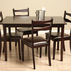 Warehouse of Tiffany - Callan 5-piece Dining Room Furniture Set - Stylish and beautiful, these convenient dining room furniture sets are an easy way to upgrade your dining area. The set comes with a table and four chairs, each constructed with solid oak in a deep espresso finish and upholstered with bi-cast leather.