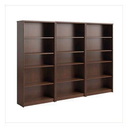 Bush - Bush Envoy 5 Shelf Wall Bookcase in Hansen Cherry - Bush - Bookcases - PR76565PKG -Bush Envoy 5-Shelf Bookcase in Hansen Cherry