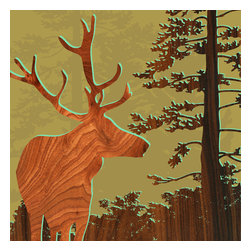 jefdesigns - Forest Critters Print - Deer 2 - A graceful stag in profile and a tall conifer will catch your eye as you and your guests admire this woodsy print designed by Joe Futschik. Ready to frame, digitally enhanced with wood grain and UV-coated for lush color and sun protection, you'll love this limited edition, six-by-six print.