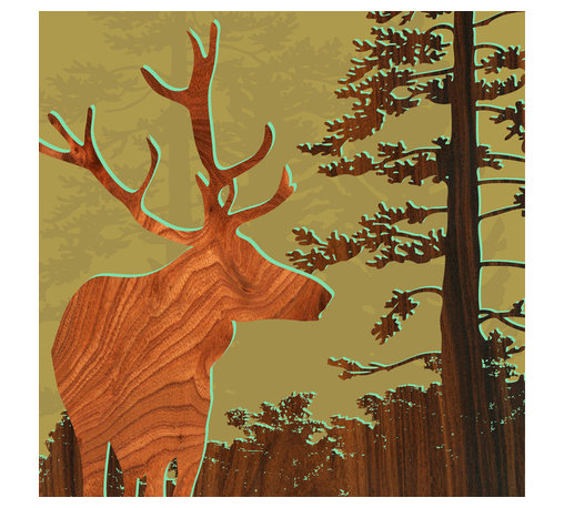 jefdesigns - Forest Critters Print — Deer 2 - A graceful stag in profile and a tall conifer will catch your eye as you and your guests admire this woodsy print designed by Joe Futschik. Ready to frame, digitally enhanced with wood grain and UV-coated for lush color and sun protection, you'll love this limited edition, six-by-six print.