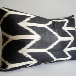 Hand-Woven Original Silk Ikat Pillow Cover, Dark by Sukan - Here's a graphic accent pillow for the bed.