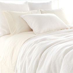 """Pine Cone Hill - PCH Stone Washed Linen White Duvet Cover - Lightweight and soft, the Stone Washed duvet cover sets a comfortable, modern tone in white. This tailored PCH bedding accent dresses the bed with casual sophistication. Button closure; 100% linen; Insert not included; Machine wash; Available in full/queen and king sizes; Designed by Pine Cone Hill, an Annie Selke company Full/queen: 88""""W x 88""""H; King: 102""""W x 92""""H"""