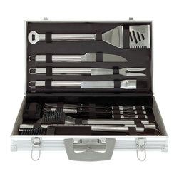 Mr Bar B Q - 30-Piece Tool Set - Mr, Bar-B-Q 30-Piece Tool Set with Aluminum Case includes: 4-in-1 spatula, fork, tongs, basting brush, knife, 12 corn holders, 6 skewers, 4 steak knives, grill brush, 2 replacement heads and aluminum carrying case.  Mirror polished.