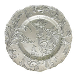 Jay Import Co. - Vanessa Charger Plate, Silver - Endless waves of beauty coil around this charger plate, adding a gilded texture to even the simplest meal. The edging alone is unique enough to make a memorable moment out of every bite taken from this plate.