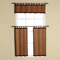 Versailles Home Fashions - Easy Glide All-Natural Bamboo Ring Top Window Curtain Valance - These all-natural bamboo window curtain tiers bring the beauty of natural wood into your home.