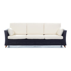 All Things Cedar - Rattan 4 Seater All Weather Wicker 8 Ft. SOFA with White cushion - Our 8 Foot Deep Seat Sofa is a great accomodation for weekend get togethers and offers plenty of room for a Sunday afternoon nap. Item is made to order.