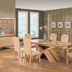 Extendable Rectangular Wooden and Glass Top Furniture Dining Room Sets - The Set crafted from dark wood and features a smooth finish. Dark colored dining set creates incredible atmosphere of sophisticated fashionable style.