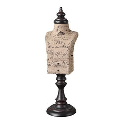 Uttermost - Uttermost Jewelry Mannequin Traditional Table Decoration X-39791 - Script-printed burlap with mahogany finished metal details. Small drawers open for storage on the front and side. The burlap script will be different on each one.