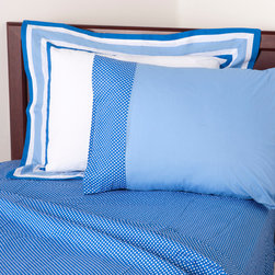 """Simplicity Blue - Full Sheet Set - Flat and fitted sheets come with our signature """"Blue Dots"""" cotton print fabric.  Standard pillowcases comes in solid blue and trim in """"Blue Dots"""" cotton print fabrics."""