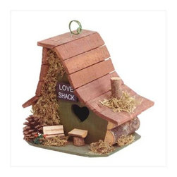 "Anzy - Stylish Wood Love Shack Birdhouse - The heart-shaped door gives it away: This is a little ""Love Shack!"" Amusing asymmetrical architecture is trimmed with forest treasures."