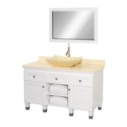 Wyndham Collection - Eco-Friendly Modern Bathroom Vanity with Ivory Marble Sink - Includes natural stone counter, backsplash, one vessel sink and matching mirror. Faucets not included. Engineered to prevent warping and last a lifetime. Highly water-resistant low V.O.C. finish. 12 stage wood preparation, sanding, painting and finishing process. Floor standing vanity. Deep doweled drawers. Fully extending bottom mount drawer slides. Soft close concealed door hinges. Single hole faucet mount. Plenty of storage space. Brushed steel leg accents. Metal hardware with brushed chrome finish. Two doors and two drawers. Ivory marble top. Made from zero emissions solid oak hardwood. White finish. Vanity: 48 in. W x 22.5 in. D x 36 in. H. Mirror: 24.25 in. W x 36.25 in. HCutting edge, unique transitional styling. A bridge between traditional and modern design, and part of the Wyndham Collection Designer Series by Christopher Grubb, the Premiere Single Vanity is at home in almost every bathroom decor, resulting in a timeless piece of bathroom furniture.