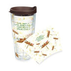 Tervis - Tervis Inspirational Dragonfly Wrap 24-Ounce Tumbler with Brown Lid - Drink up and take to heart the uplifting message scrolled on this inspirational dragonfly wrap tumbler. Tervis Tumblers are made with double walled insulation to keep hot drinks hot and cold drinks cold. Fits in most cup holders.