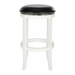 Safavieh - Elwood Bar Stool - Always in fashion, the backless silhouette of the Elwood swivel barstool is functional, refined and classic. Upholstered with black PU leather and bronze nailhead trim, this pretty barstool is crafted of eco-friendly rubberwood in a crisp white finish.
