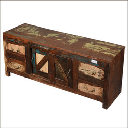 Distressed Reclaimed Wood 4 Drawer TV Media Cabinet - This solid hardwood media cabinet is part of our traditional Appalachian Collection. The Cabinet is hand crafted with reclaimed wood from Gujarat. There's plenty of storage with four drawers and a large center cupboard section. The surface has been naturally aged and distressed over time; no additional stains or paints are added. This smart storage system can also work as a hobby station.