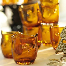 """Owl Hand-Blown Drink Glass, Set of 4, Amber - This hand-blown interpretation of an owl has subtle variations in shape and tone inherent to artisan-made glassworks. 3.75"""" diameter, 4"""" high; 8 fluid ounces Made of hand-blown glass. Set of 4. Dishwasher-safe. Catalog / Internet only."""