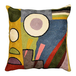 """Modern Wool - Kandinsky Composition VI Cushion Cover Hand Embroidered 18"""" x 18"""" - Kandinsky modern pillow cover composition cushion cover-Knowing that Kandinsky portrayed the soul as concentric circles, we see in this pillow cover, perhaps the eye of the soul or seeds and ovum. Gorgeous color swathes the cushion cover, a fusion of the hand-dyed Kashmiri wool and the expert needlework. The hand worked modern pillow cover is of the finest chainstitch, the stitch of an accomplished artisan, finer than crewel. The kaleidoscopic design deserves to be seen and experienced. This cover will be an attention-getter no matter where you put it. The Kashmir wool thread makes it soft to the touch, and the raised-swirl texture of the embroidery delights the senses. Durable and easily cared for, this cover has a back button closure."""