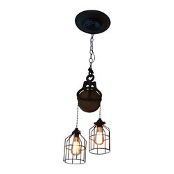 """West Ninth Vintage - Industrial Wood and Steel Barn Pulley Light - Pulley Light. Barn Pulley Industrial Light. This beautiful piece is a barn pulley that has a wood wheel and steel frame. This light is currently displayed over a dining room table but can anywhere from a bar to a business setting. Every detail on it has a cool industrial style from the wheel to the edison-style light bulbs. It comes with the canopy plate and thick chain to complete the look and it is HARD WIRED .The hanging lights can be adjusted to whatever height you would like an the cords are 4 feet long. It also comes with black cages for the lights which can be removed. This piece is approximately 6"""" Wide and 9"""" Tall."""