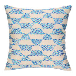 """Trina Turk - Trina Turk Ventura Blue Embroidered Pillow - The Trina Turk Ventura pillow offers an eclectic and energetic vibe. With a beige and blended blue color palette, this decorative accessory pops with an embroidered modern geometric design. 20""""W x 20""""H; 100% linen; Dry clean only; Down pillow insert included"""