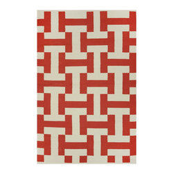 "Fab Habitat - Canal Paprika & Beige (4' x 6') - Say, ""HI!"" to this eye-catching rug. And depending on how your eyes adjust to its pattern, it looks like it's (subliminally) saying, ""HI!"" to you as well, as the letters ""H"" and ""I"" appear to pop into view. It could very well be the ""nicest"" addition to your home."