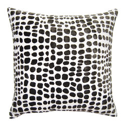 Square Feathers - Sheldon Pillow, Cheetah Pillow - Cheetah print gets a facelift by switching out its standard colors for a high-impact palette of black and white. The graphic tones are tempered by the organic pattern for a look that's a little of both styles in one.