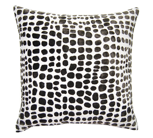 Square Feathers - Black and White Cheetah Pillow - Cheetah print gets a facelift by switching out its standard colors for a high-impact palette of black and white. The graphic tones are tempered by the organic pattern for a look that's a little of both styles in one.