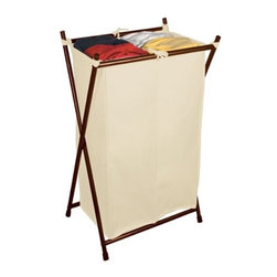 Bagstand - Double Bronze Folding Hamper with Cotton Bag - Our Double Bronze Folding Hamper with Cotton Bag. It holds the laundry bag upright allowing it to expand to its full capacity. The Laundry Bag for the Folding Hamper has specially designed features to hold the bag securely on the frame. Works well in a master bedroom, bath or laundry room and holds 4 loads of laundry. This Bag Stand Laundry Hamper is manufactured in an oil rubbed bronze finish on commercial quality heavy gauge steel.