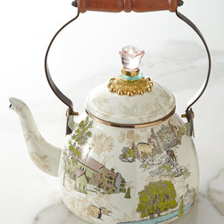 """MacKenzie-Childs - Aurora 2-Quart Tea Kettle - MacKenzie-ChildsAurora 2-Quart Tea KettleDetailsNamed after the 65-acre former dairy farm in Aurora New York where MacKenzie-Childs is located this charming tea kettle depicts the farmhouse aviary garden cottage and converted barn where MacKenzie-Childs artisans handcraft and paint. The flower-shaped finial knob in translucent pink adds just the right finishing touch.12-gauge steel underbody with hand-applied transfers.Bronzed stainless steel rim.Brass glass and acrylic finial; wooden handle.Hand painted.Dishwasher safe; for best results hand wash with mild soap.Due to the nature of handcrafting each tea kettle will vary.Holds 2 quarts; 7""""Dia. x 10.5""""T.Imported.Designer About MacKenzie-Childs:Established in 1983 MacKenzie-Childs is located on a 65-acre former dairy farm in Aurora New York. Alongside a small herd of Scottish Highland cattle hens and a duck pond artists create ceramic tableware furniture and home accents by hand using time-honored techniques. From enamelware and glassware to furniture and decorative accessories MacKenzie-Childs combines vibrant colors and patterns to create a collection that epitomizes """"tradition with a twist"""" that has earned a worldwide following of loyal fans who are drawn to the line's whimsical style and dedication to quality."""