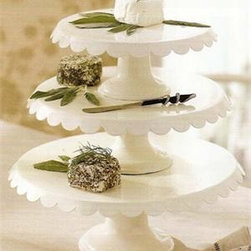 Enamel Cake Stands - Classic white scalloped edges make this tiered cake stand one of my favorites.